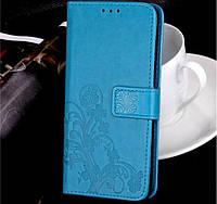 Чехол книжка для Meizu Note 9 с цветком Бирюзовый