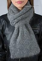 Зимний вязаный женский шарф с люрексом S-37 цвет маренго