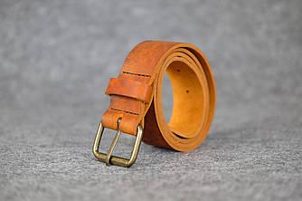 Кожаный пояс под джинсы цвет Коньячный