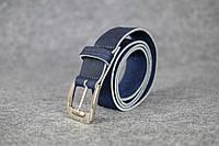Кожаный пояс под джинсы цвет Синий