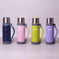 Термос с ручкой и ремешком Kamille KM-2015 1.2 л удобный питьевой термос для отдыха или путешествия