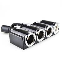 Разветвитель прикуривателя в авто 1503 (3 гнезда+2*USB), фото 1