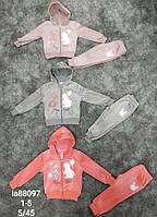 Велюровый костюм-двойка для девочек Setty Koop оптом, 1-5 лет.
