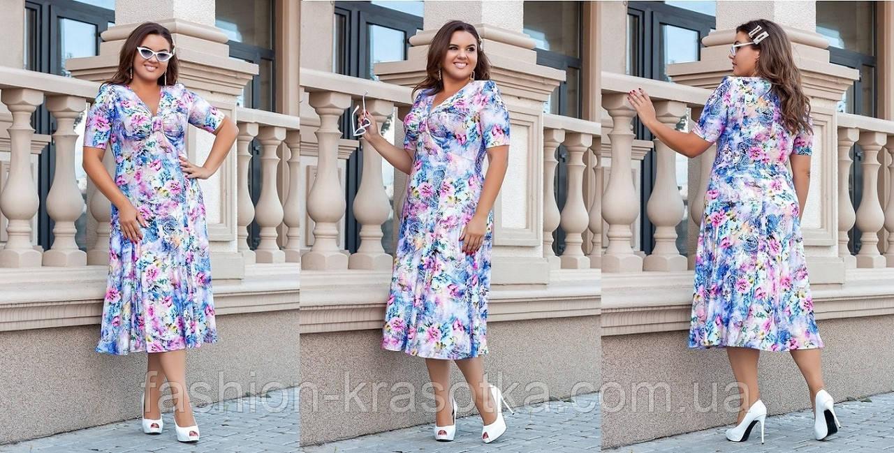 Нарядное женское платье больших размеров,ткань:масло трикотаж.