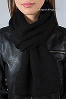 Теплый вязаный черный шарф S-38