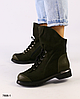 Ботинки женские хаки из натурального нубука  на низком каблуке
