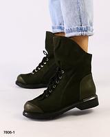 Ботинки женские хаки из натурального нубука  на низком каблуке, фото 1