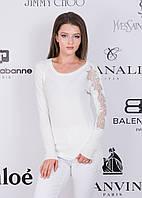 Женский свитер о стразами на рукавах 46-48 (в расцветках)