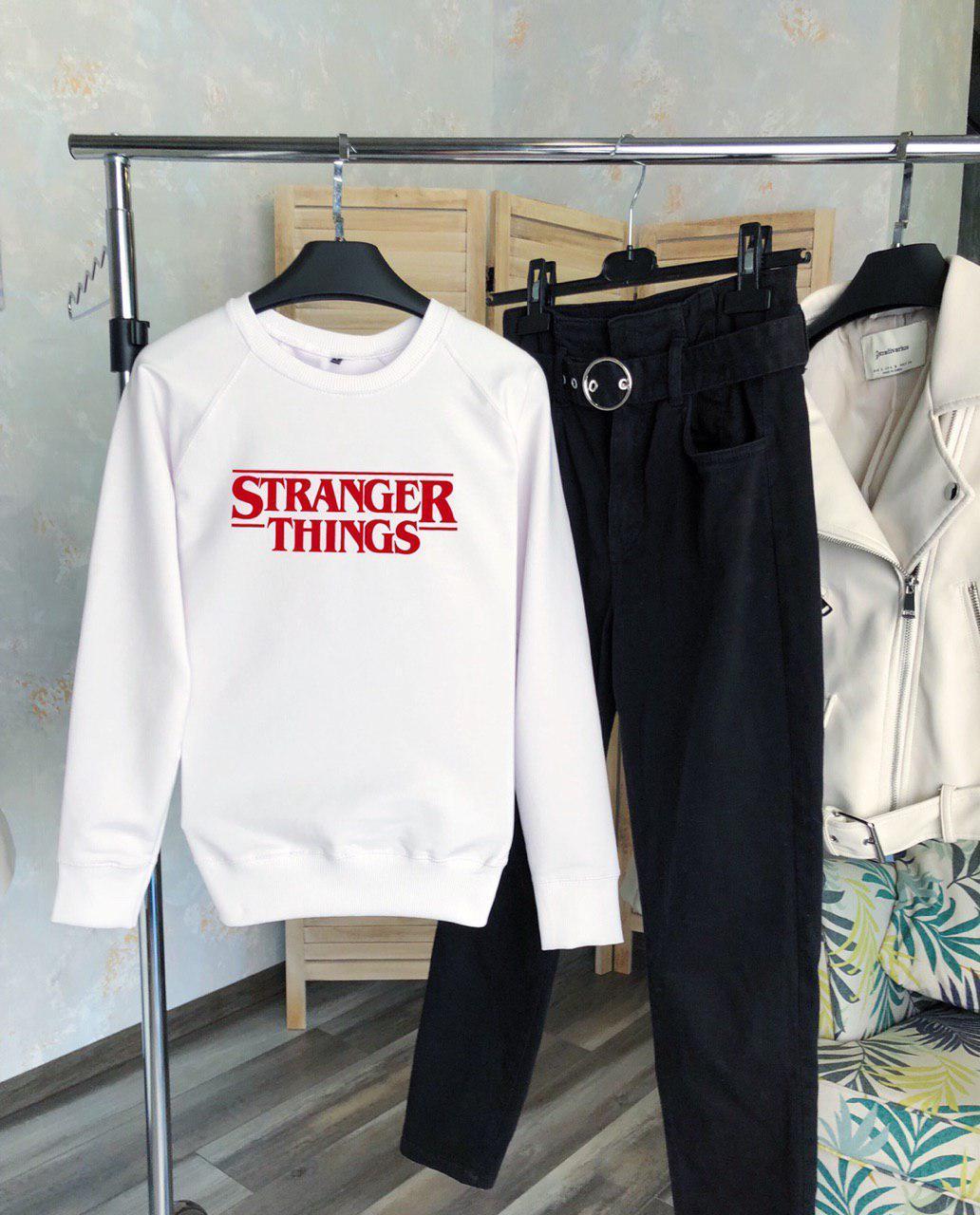 Женский свитшот белый STRANGER THINGS