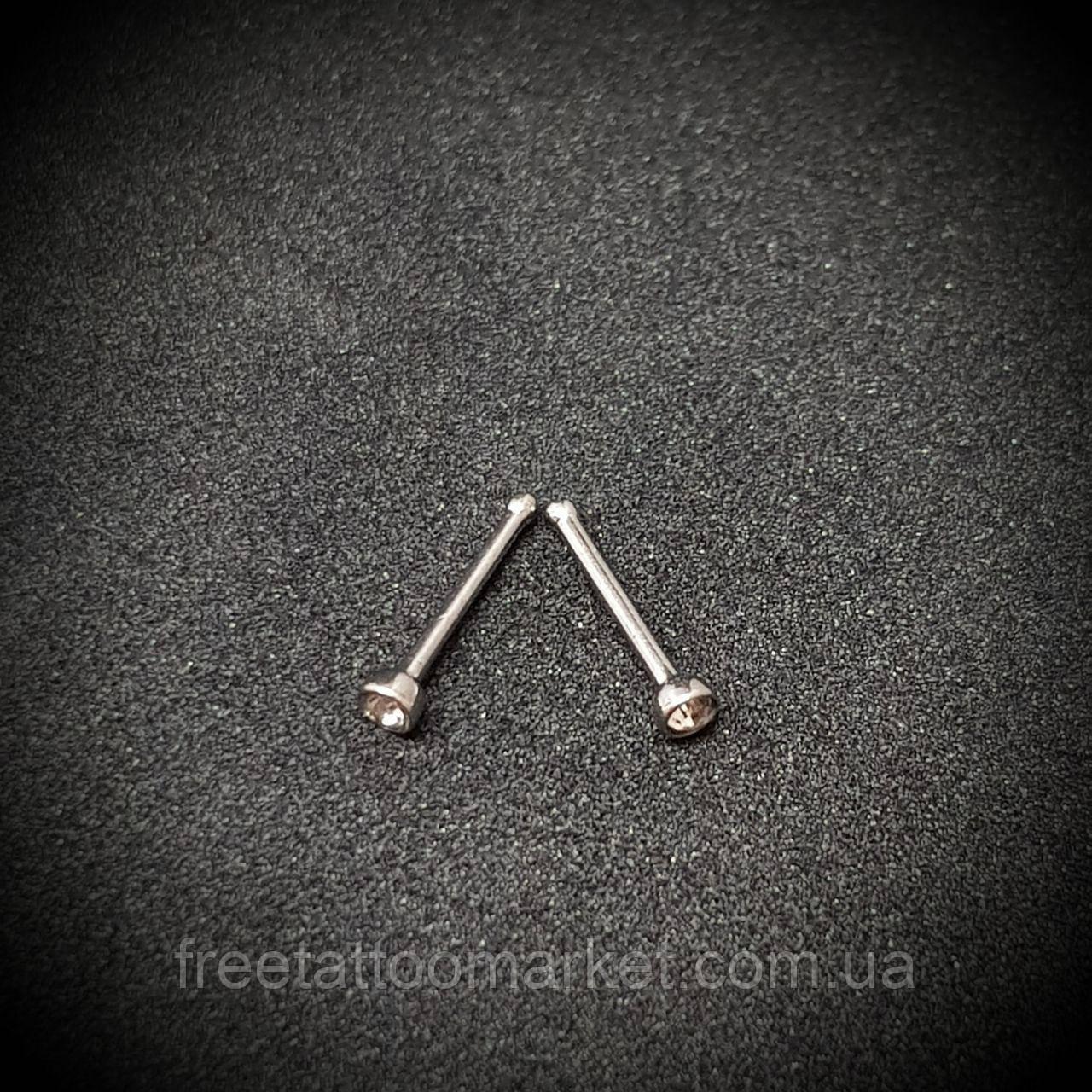 Серьга в нос прямая с камнем (нострил) 0.8 х 6.5 х 2 мм (титан)