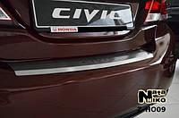 Honda Civic 2013 Накладка на задний бампер с загибом Натанико