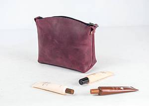 Косметичка Вінтажна шкіра колір Бордо, фото 2