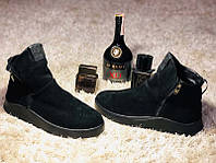 Зимние ботинки мужские замшевые черные GR0075