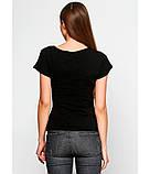 Жіноча футболка черного кольору. Футболка з українським орнаментом. Жіночі сучасні футболки., фото 3