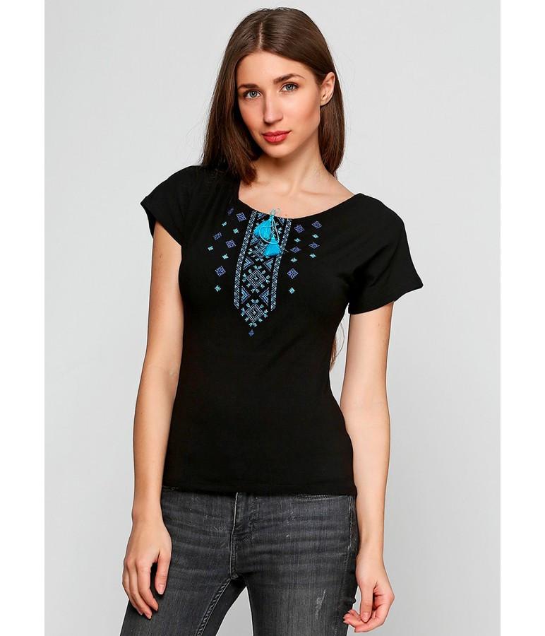 Жіноча футболка черного кольору. Футболка з українським орнаментом. Жіночі сучасні футболки.