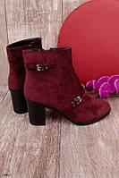 Женские ботильоны бордовые-марсала на каблуке эко-замш весна-осень, фото 1