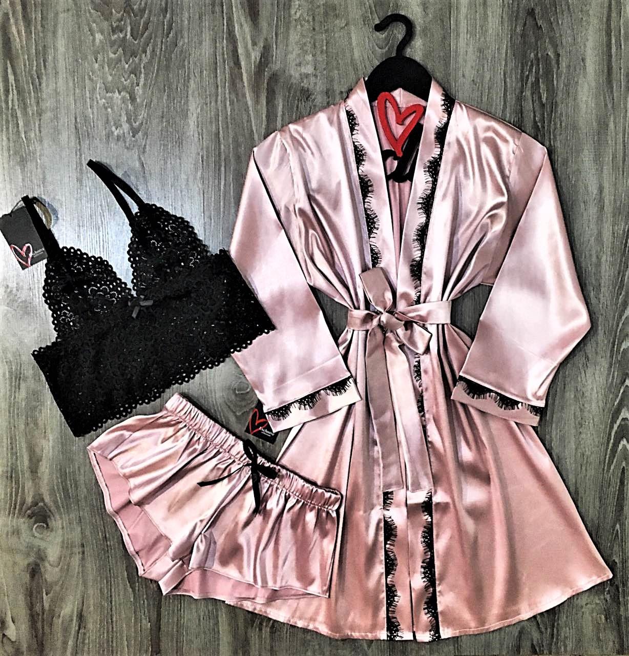 Модний шовковий комплект халат+піжама, домашній одяг.
