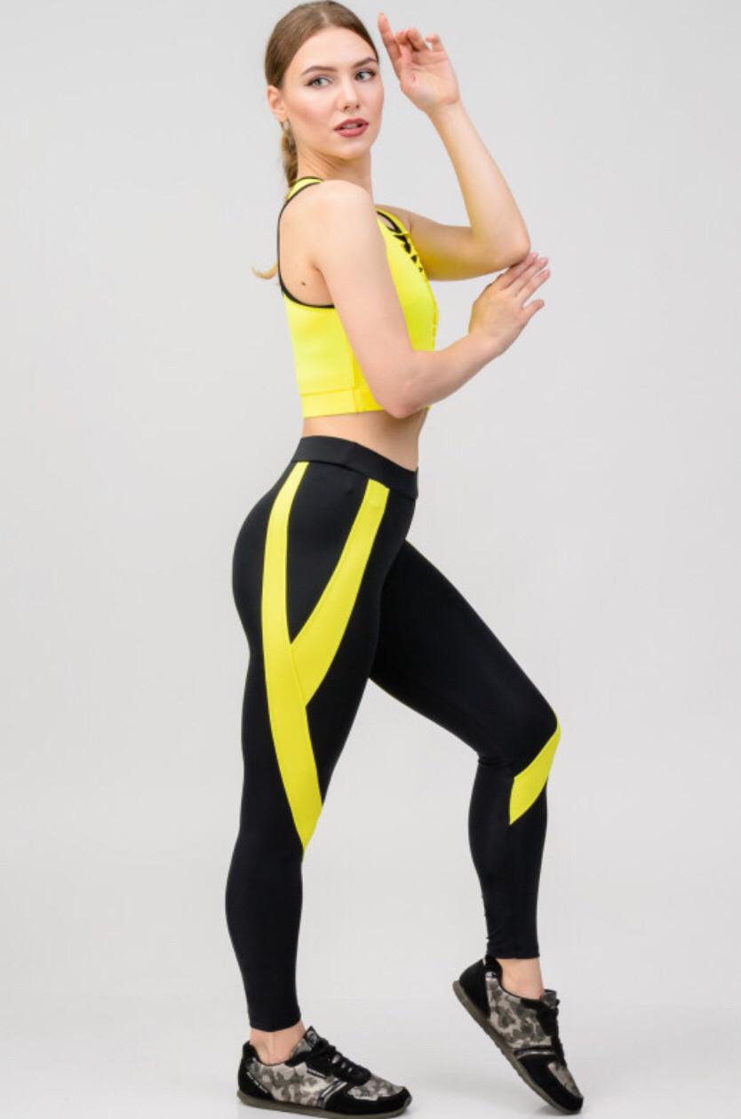 Костюм для фитнеса топ и лосины с желтыми вставками