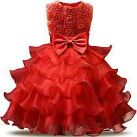 Детское нарядное платье с розочками и воланами Красное на рост 116-128 см