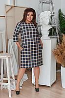 """Замшевое платье прямого кроя в клетку """"Roberta"""" с четвертным рукавом (большие размеры)"""
