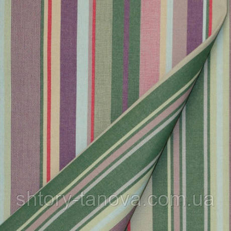 Ткань тефлон дралон полоска зеленый/лазурь/фиолетовый, ткань на подушки для садовой мебели