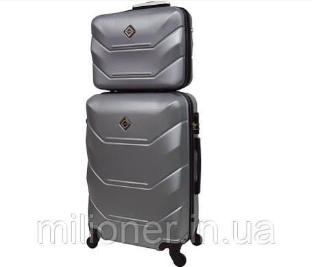 Комплект чемодан + кейс Bonro 2019 (большой) серебряный, фото 2