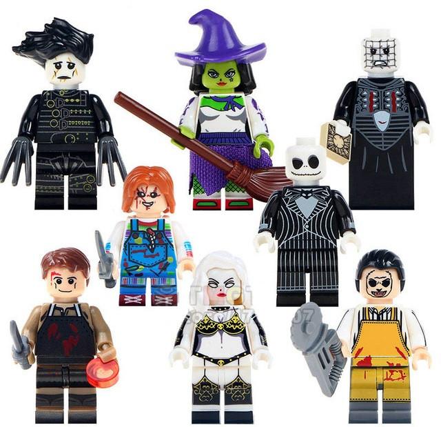 Фигурки Ведьма,Декстер Морган,Жуткая кукла,Кожаное лицо,Кошмар перед рождеством,Леди смерть,Пинхед Lego Лего