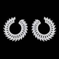 Серьги-кольца - Остроконечные (Серебряные с белым)