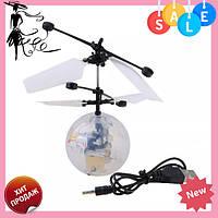 Летающий шар мяч вертолёт светящийся сенсор Flying Ball Air led sensor sphere Original size от руки, фото 1