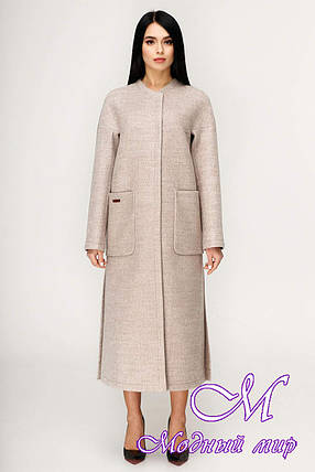Женское длинное демисезонное пальто (р. 44-54) арт. 1192 Тон 2, фото 2