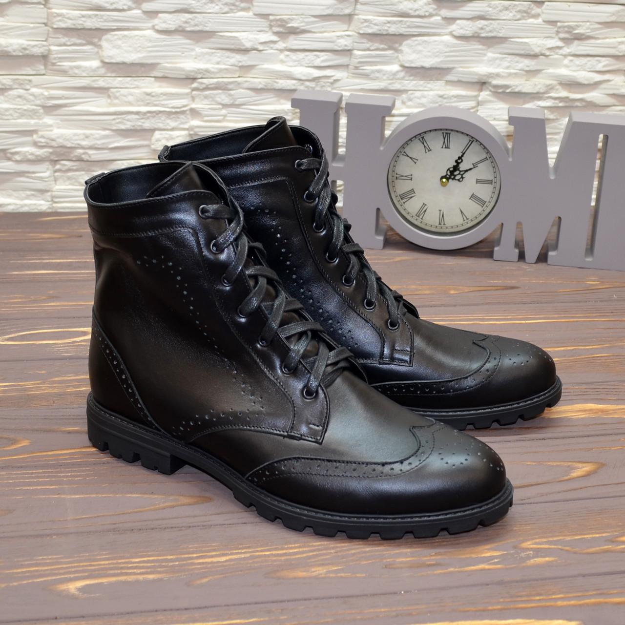 Ботинки мужские на шнурках, натуральная кожа черного цвета