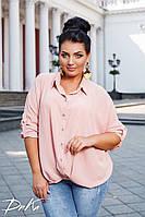 Женская стильная рубашка свободного кроя №41328 (р.42-56) пудра, фото 1