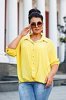 Женская стильная рубашка свободного кроя №41328 (р.42-56) желтый, фото 1