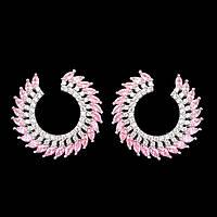 Серьги-кольца - Остроконечные (Серебряные с розовым)