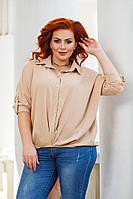 Женская стильная рубашка свободного кроя №41328 (р.42-56) бежевый, фото 1