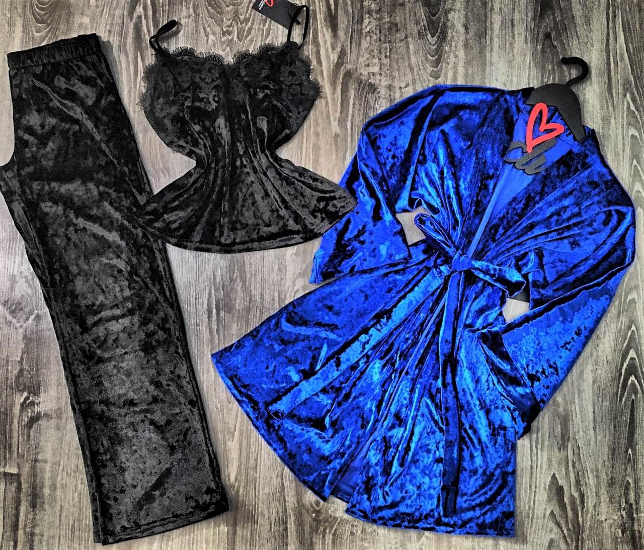 Велюровый комплект пижама с штанами и халат 084-010.