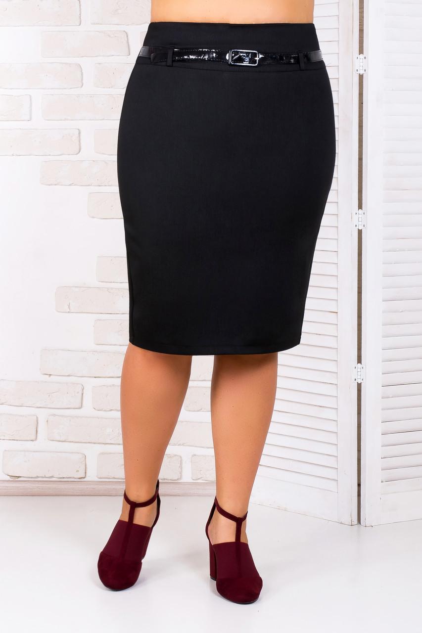 Классическая черная юбка карандаш 48-50 р