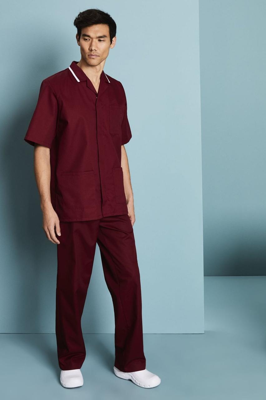 Медицинский костюм для врача мужской бордовый с белой отделкой Atteks - 03309