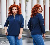 Женская стильная блузка №41325 (р.42-56) синий, фото 1