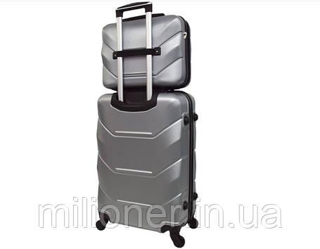 Комплект чемодан + кейс Bonro 2019 (средний) серебряный, фото 2