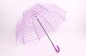 Великий прозорий зонт трость з смужку