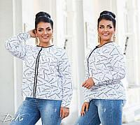 Женская стильная блузка №41326 (р.42-56) белый принт, фото 1
