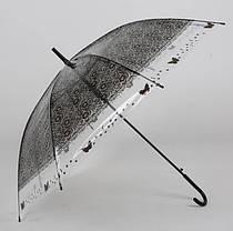 Большой силиконовый прозрачный зонт с принтом кружева, фото 2