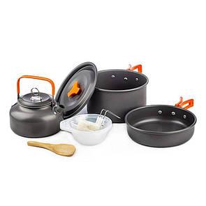 Туристический набор посуды 9в1 с чайником. из анодированного алюминия. Туристическая сковородка, кастрюля.