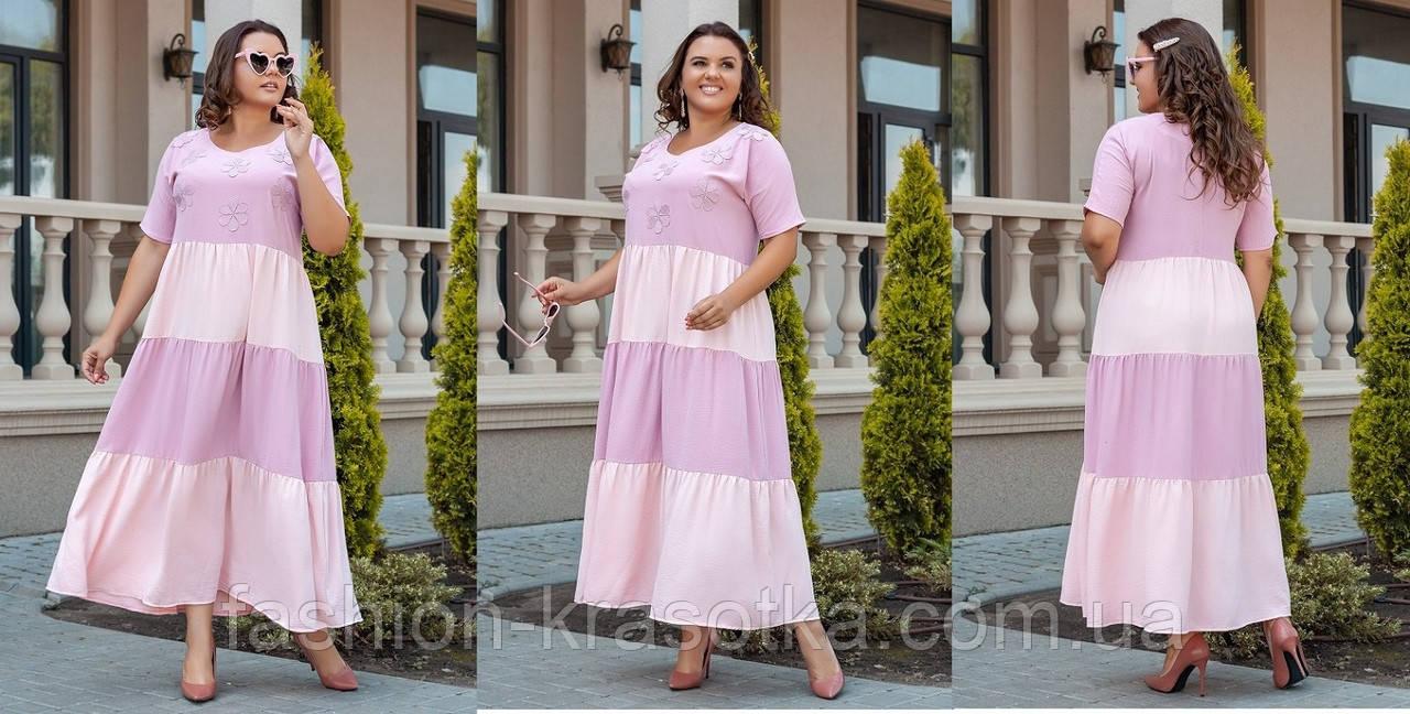 Нарядное легкое летнее платье больших размеров,ткань: американский тонкий лен с кружевом и аппликацией .