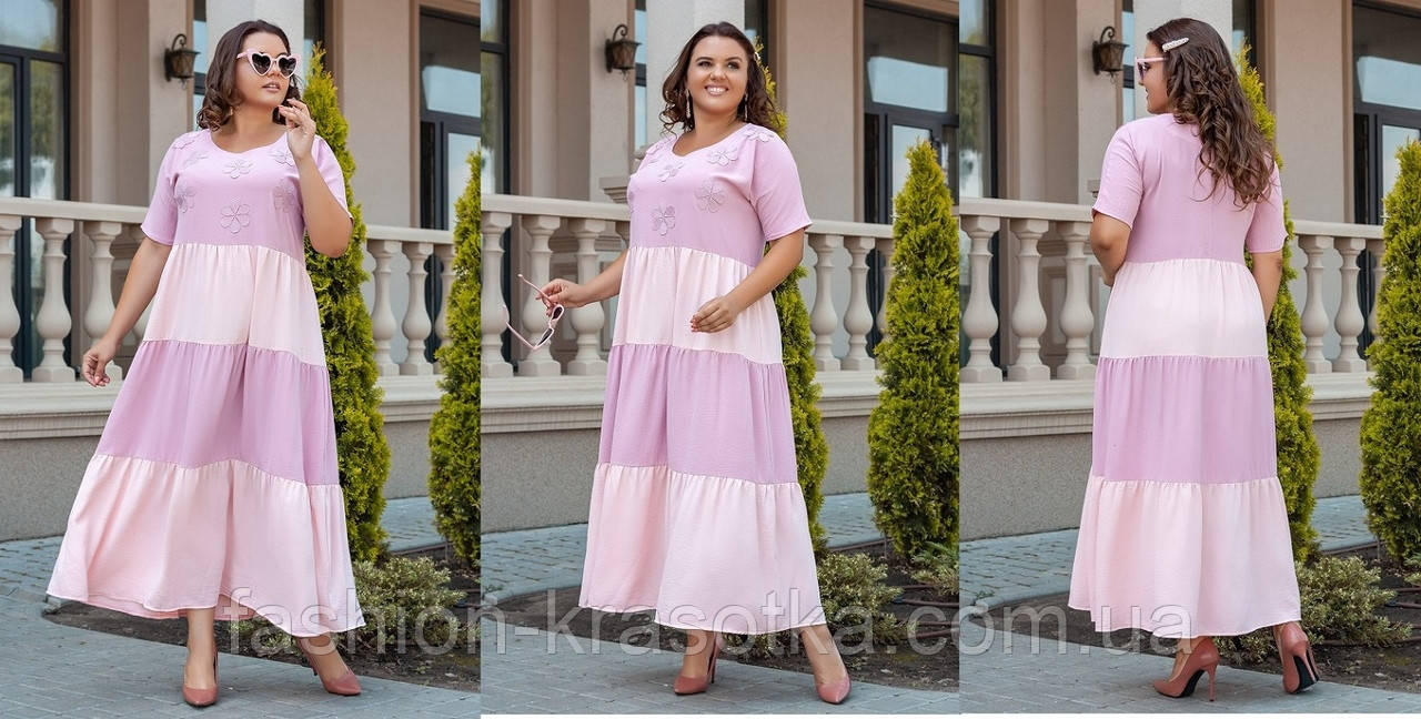 Ошатне легке літнє плаття великих розмірів,тканина: американський тонкий льон з мереживом і аплікацією .