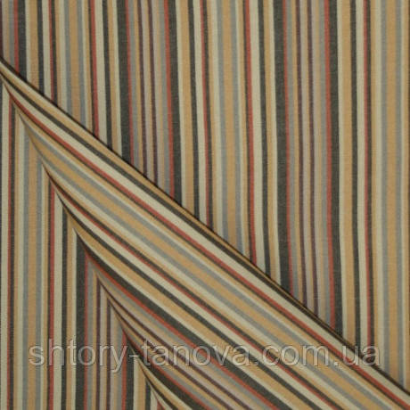 Непромокаємий тканину для тенту, вуличних подушок, штор Дралон бежевий у вузьку смужку тефлон, гамак-тканина
