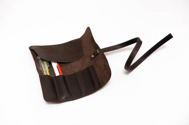 "Кожаный пенал ""Скрутка на 4 кармана"" Винтажная кожа цвет Шоколад, фото 2"