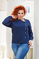 Женская стильная рубашка №41327 (р.42-56) синий, фото 1