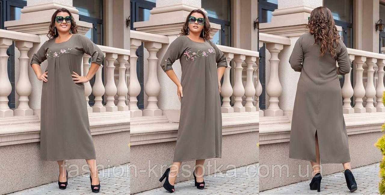 Шикарное женское платье  больших размеров с аппликацией,ткань: американский тонкий лен .